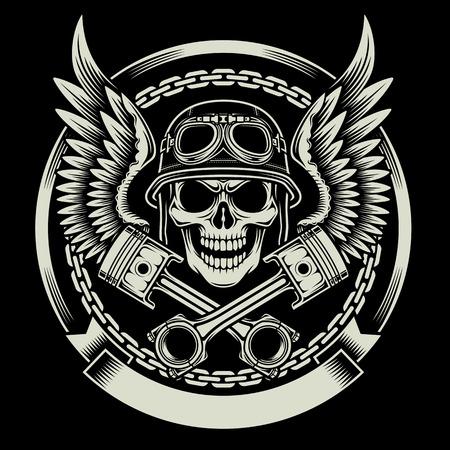 helmet moto: Cr�neo del motorista del vintage con las alas y los Pistons Emblema