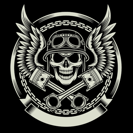 skull and bones: Vintage Biker Skull with Wings and Pistons Emblem