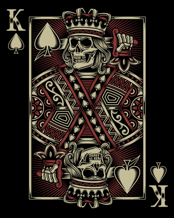 playing games: Skull Playing Card Illustration