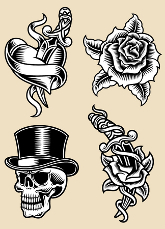 hearts and roses: Tattoo Vector Illustration Set
