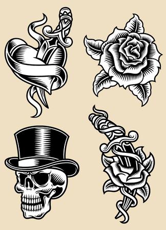 Tattoo Vektor-Illustration Set