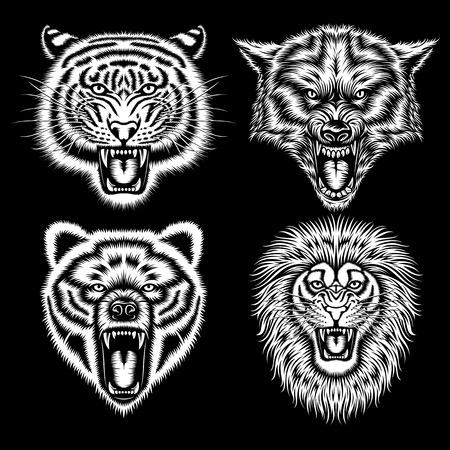 Set van Angry Animal Heads