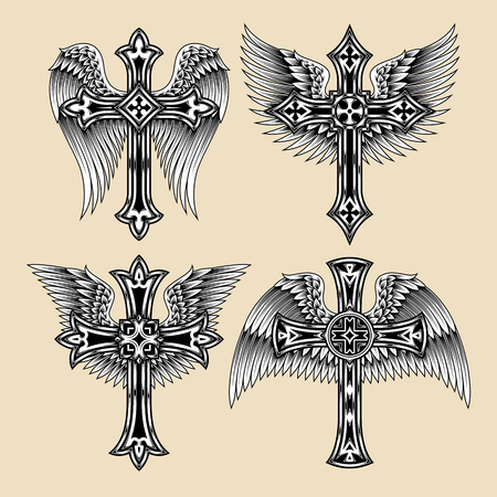 cross and wings: Winged Cross Set