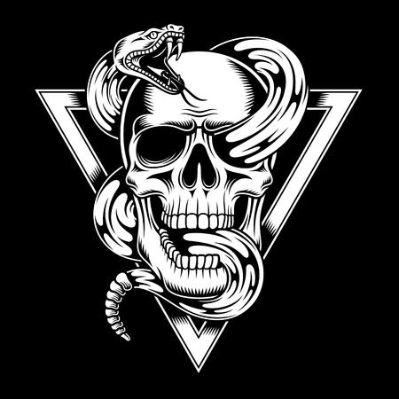 Crâne avec illustration de serpent. Banque d'images - 85464728