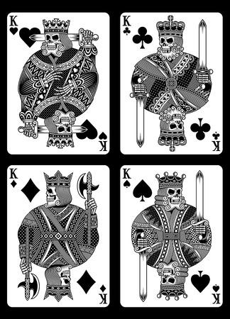 Set of Skull Playing Cards vector illustration