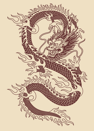 Traditional Asian dragon vector illustration.