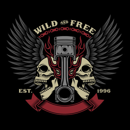 Biker Skull Emblem Illustration