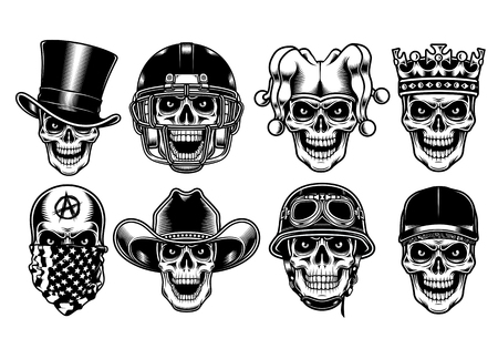 Set of Skull Characters Isolated on White Background