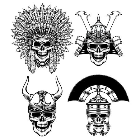 Set of Warrior Skull Characters Vector illustration.