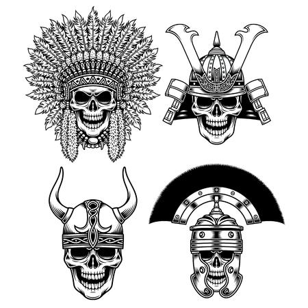 Set of Warrior Skull Characters Vector illustration.