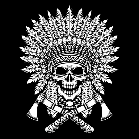 American Indian Chief Skull With Crossed Tomahawks Illustration