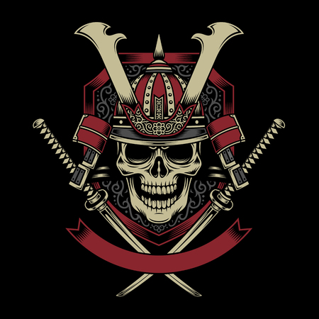 Samurai Warrior Skull with Crossed Katana Swords Ilustração