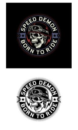 Vintage Biker Skull Emblem on Black and White Background