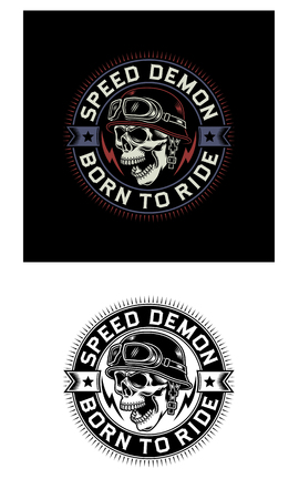 Vintage Biker Skull Emblem on Black and White Background