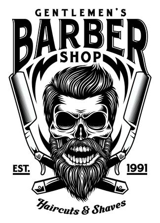 Vintage Bearded Barber Skull With Crossed Razors Illustration