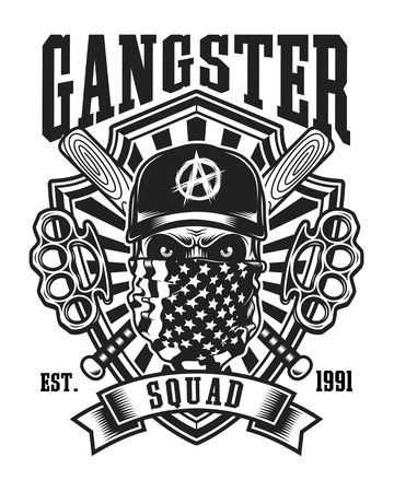 Gangster Skull With Crossed Baseball Bats and Brass Knuckles Emblem