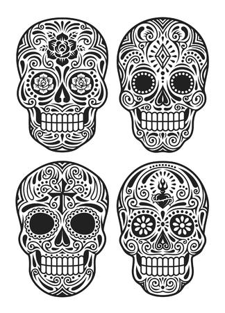 Day Of The Dead Skull Vector Illustration Set In Black And White