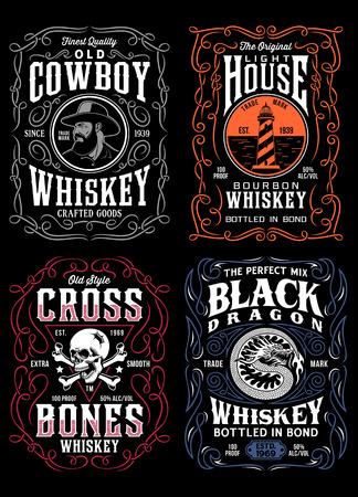 Collection graphique de t-shirts vintage avec étiquette de whisky