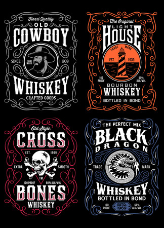 Vintage Whiskey Label T-shirt Graphic Collection Çizim