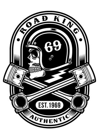 Biker Skull with Crossed Pistons T-shirt Graphic Design