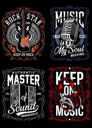 Music T-shirt Design Set