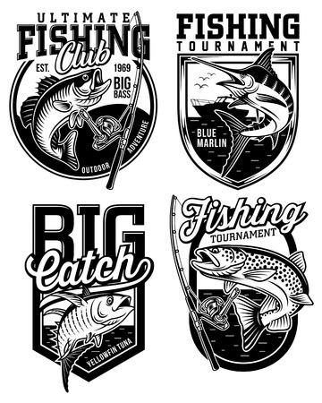 Ensemble de dessins d'emblèmes de pêche