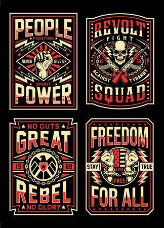 Collection de dessins de t-shirts de propagande vintage