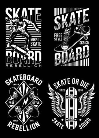 Skateboard T-shirt Designs Collection 向量圖像