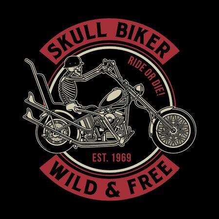 Vintage Skull Biker Vector Illustration Ilustracja