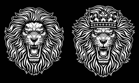 Angry Lion Head With Crown