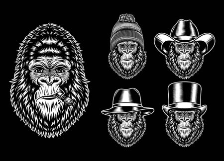 Collection Of Gorilla Smoking Characters