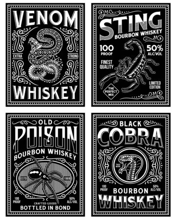 Vintage Whiskey Label T-shirt Graphic Collection In Black and White Ilustração
