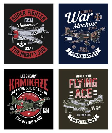 Vintage World War 2 Fighter Plane Graphic T-shirt Collection Ilustração