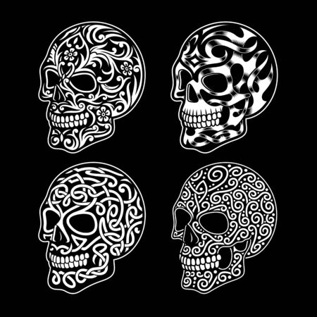 Skull Ornament Collection In Black and White