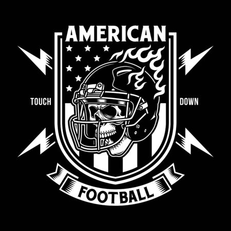 American Football Skull With Helmet