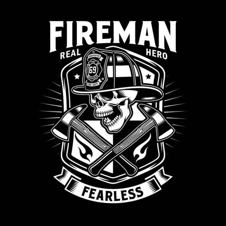 Fireman Skull With Crossed Axes