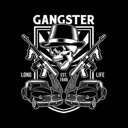 Gangster Skull With Machine Guns
