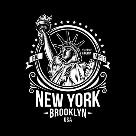 New York Vintage Emblem On Black