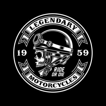 Vintage Biker Skull Emblem on Black