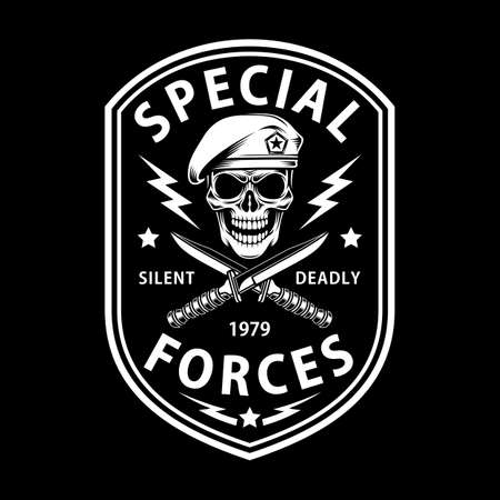 Army Special Forces Emblem With Crossed Dagger On Black