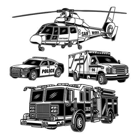 Emergency Vehicles Collection In Black And White Ilustração