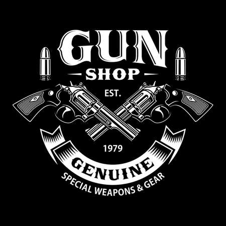Gun Shop Emblem With Crossed Guns On Black