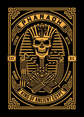 Pharaoh Skull Vector Illustration On Black Ilustração