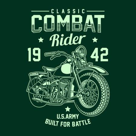 Vintage American Military Motorcycle Vector Graphic, Military Motorcycle Graphic T-shirt