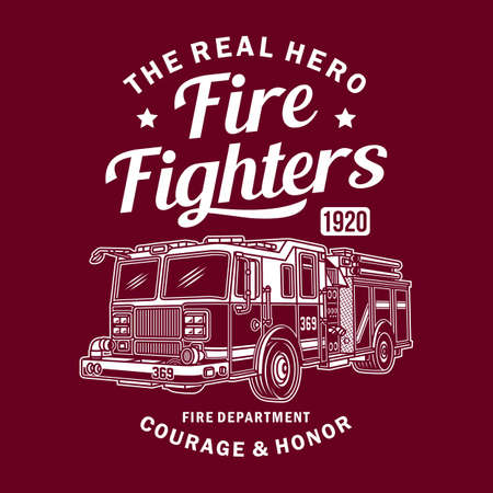 Vintage Fire Truck Vector Graphic, Fire Truck Graphic T-shirt