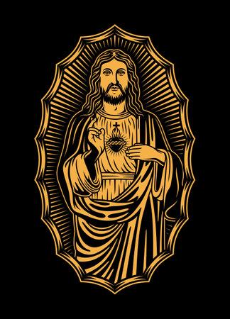 Jesus Christ Vector Illustration on Black