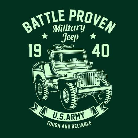 Vintage Military Jeep Vector Graphic, American Military Jeep Graphic T-shirt Ilustração