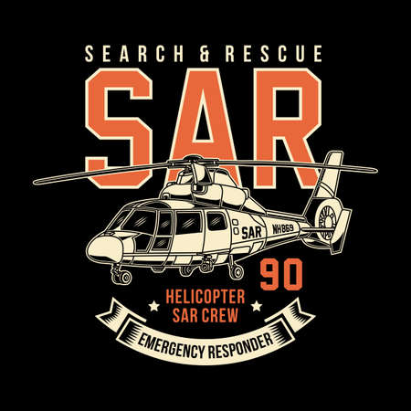 Search and Rescue Helicopter Vector Graphic, Rescue Helicopter Graphic T-shirt Ilustração