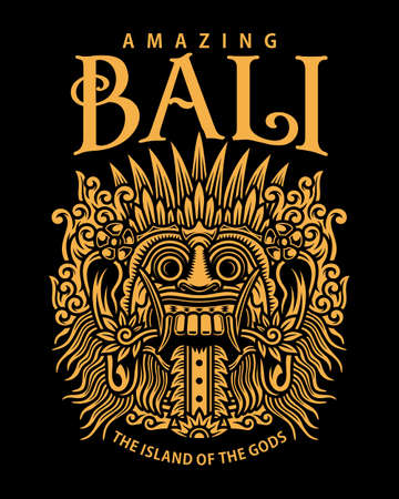 Traditional Balinese Mask Vector Illustration On Black, Traditional Balinese Mask Graphic T-shirt