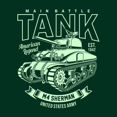 Vintage American M4 Sherman Tank Vector Graphic, Vintage M4 Sherman Tank Graphic T-shirt Ilustração